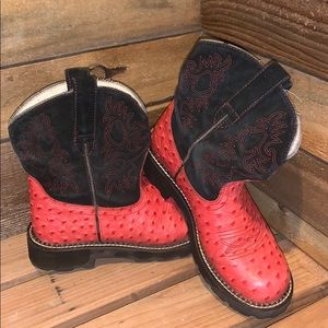 Ariat Fat Baby genuine leather red ostrich boots